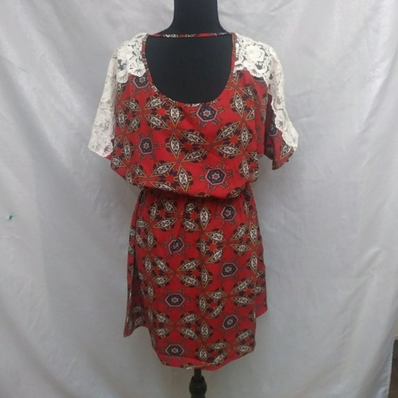 New Blouse shirt dress with lace sleeves size M